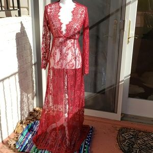 Dresses & Skirts - Red Transparent Lace dress